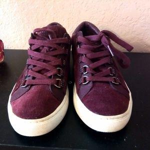 Sketchers Burgundy Faux Velvet Sneakers Size 6.5